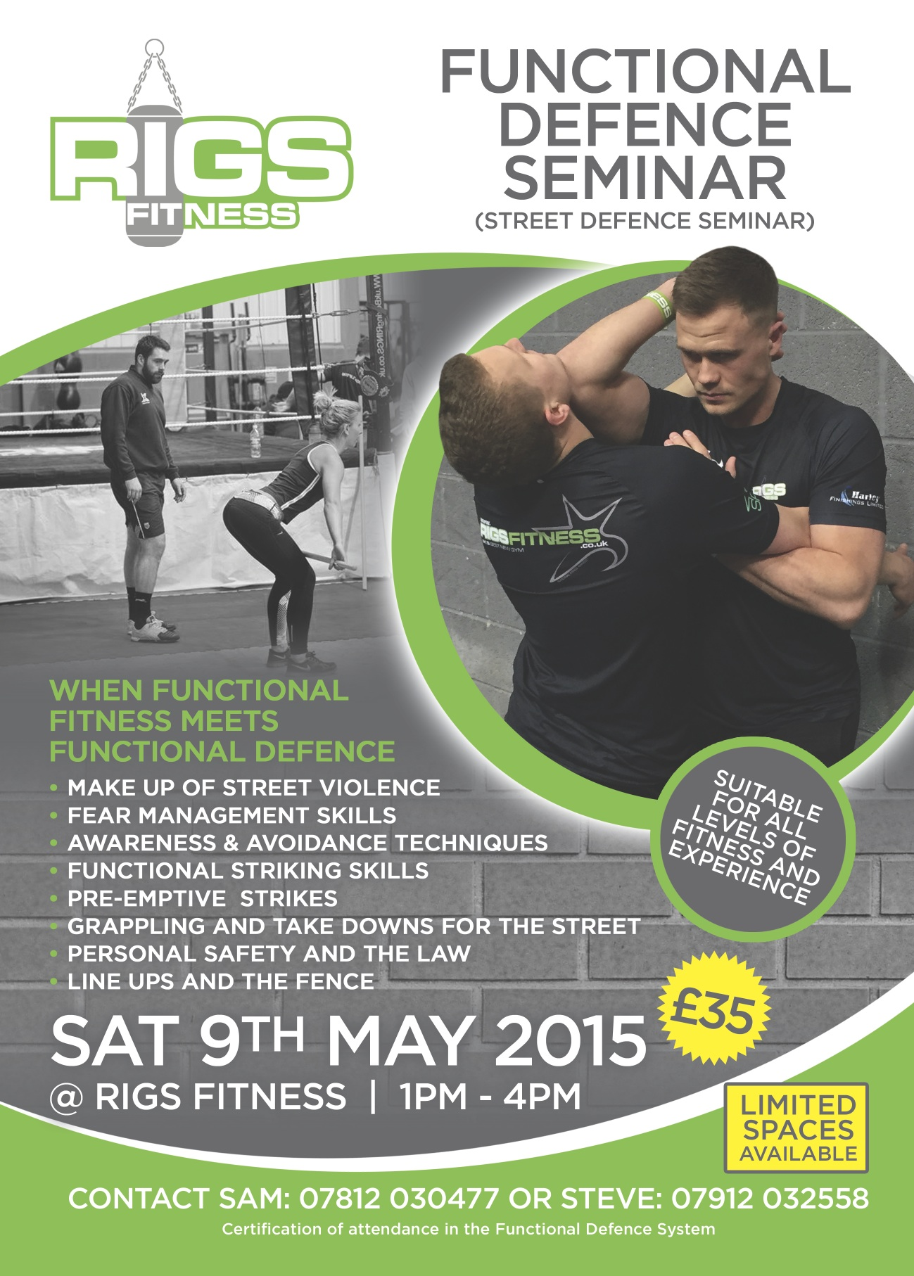 Functional Defence Seminar at Rigs Fitness, Street Defence